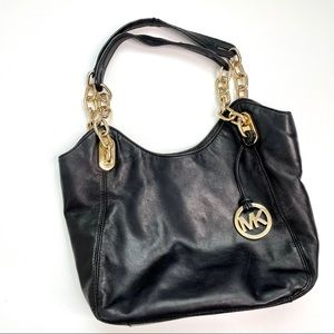 Michael Kors Black Leather Purse with Gold Chain